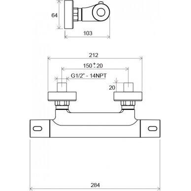 Sieninis termostatinis dušo maišytuvas Ravak Termo 300 4