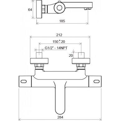 Sieninis termostatinis vonios/dušo maišytuvas Ravak Termo 300 4