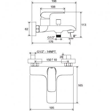 Sieninis vonios/dušo maišytuvas Ravak Flat 2