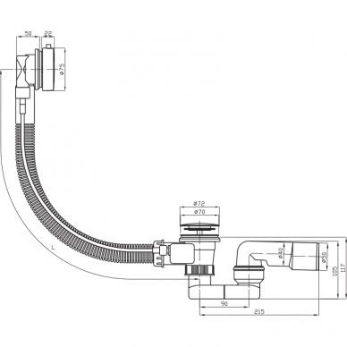 Sifonas automatinis Deep by Jika 55 cm 2