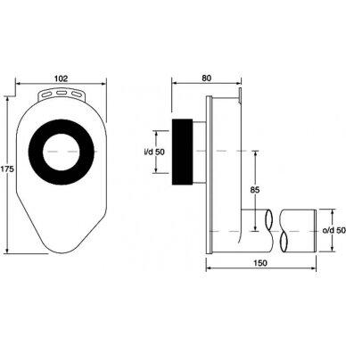 Sifonas pisuarui potinkinis horizontalus 50mm 3