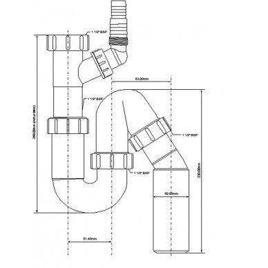 "Sifonas plautuvei P-S 1 1/2""x40/50mm universalus 2"