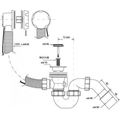 Sifonas vonios McAlpine 1 1/2x40/50 mm prailgintas 2