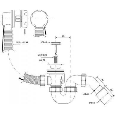"""Sifonas vonios McAlpine 1 1/2""""x40/50 mm 2"""