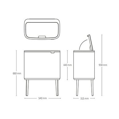 Šiukšlių dėžė Brabantia Bo Touch Bin 3x11L 9