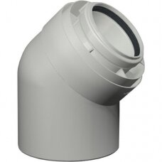 Skoberne dviguba kamino alkūnė 45° kondensaciniam katilui d80/125
