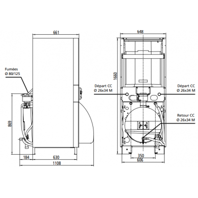 Skysto kuro kondensacinis katilas Atlantic KIMEO NOx DUO 25 (22kW), su integr. K.V.Š. 105L 3