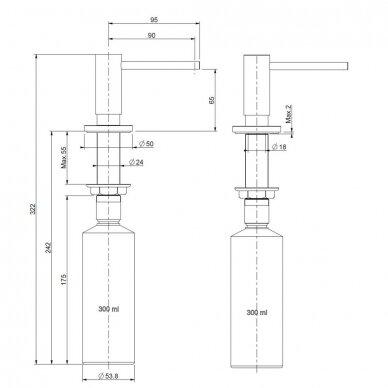 Skysto muilo dozatorius Reginox įmontuojamas 3