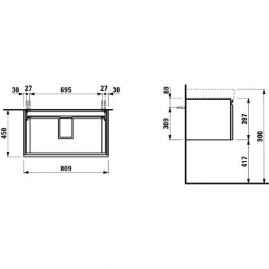 Spintelė praustuvui Laufen Pro S 60, 80, 100, 116 cm 2