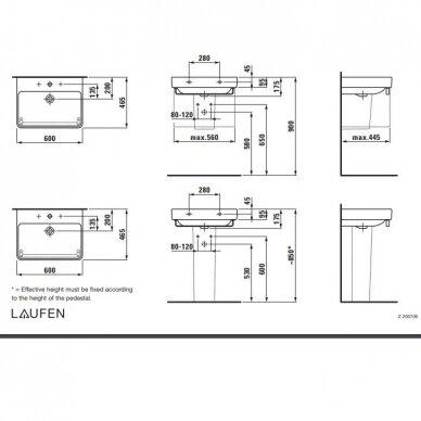 Spintelė su praustuvu Laufen PRO 60 cm 5