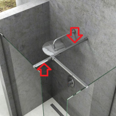 Blizgus statramstis nuo stiklo iki sienos W SET dušo kabinai Ravak Walk-in Double Wall