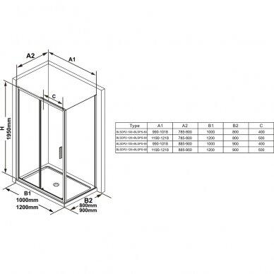Stacionari sienelė Ravak Blix Slim BLSPS 80, 90 cm 3