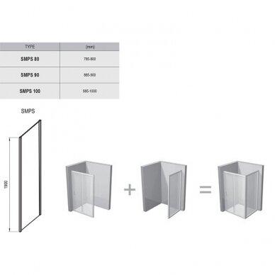 Stacionari sienelė Ravak SmartLine SMPS 80, 90, 100 cm 5