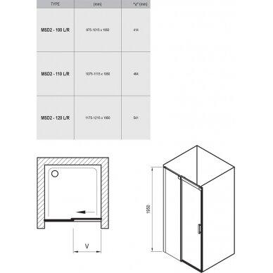 Stumdomos dušo durys Ravak Matrix MSD2 100, 110, 120 cm 6