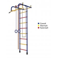 Švediška gimnastikos sienelė Pioner-1, mėlyna/raudona/geltona