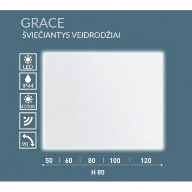 Šviečiantis veidrodis Kamė Grace 50, 60, 80, 100, 120 cm 7