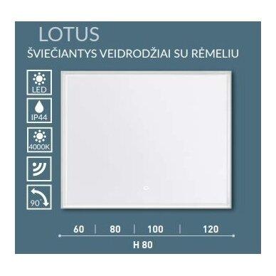 Šviečiantis veidrodis su rėmeliu Kame Lotus 60, 80, 100, 120 cm 5