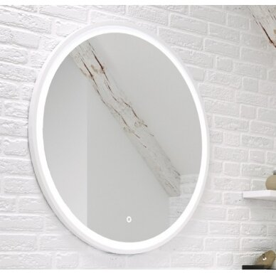 Šviečiantis veidrodis su rėmeliu Kame Lotus Round 80x80 cm 2
