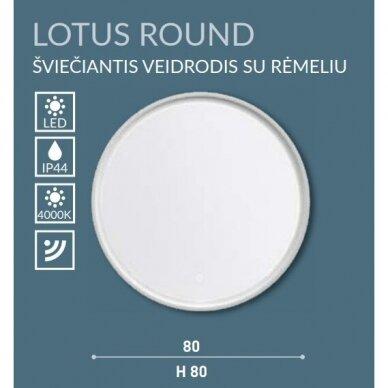 Šviečiantis veidrodis su rėmeliu Kame Lotus Round 80x80 cm 5