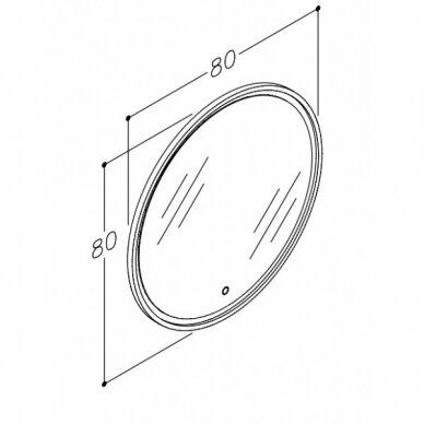 Šviečiantis veidrodis su rėmeliu Kame Lotus Round 80x80 cm 4