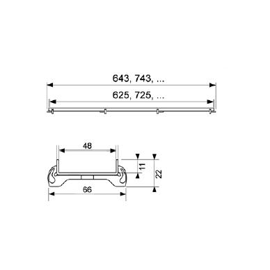 Dušo latako grotelės Tece Plate įklijuojamai plytelei 70, 80, 90, 100, 120, 150 cm 2