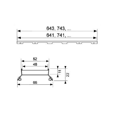 Dušo latako grotelės įklijuojamai plytelei Tece Plate II 70, 80, 90, 100, 120, 150 cm 2