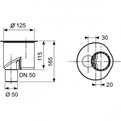 Tece vertikalus drainline sifonas DN50 2