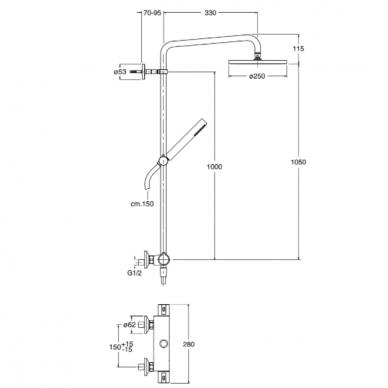 Termostatinė dušo sistema Cristina TE 458 2