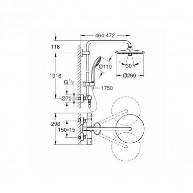 Termostatinė dušo sistema Grohe Euphoria 260 Cooltouch 3