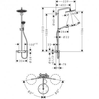 Termostatinė dušo sistema Hansgrohe Croma Select S 280 5