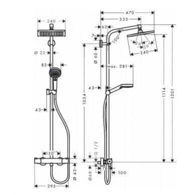 Termostatinė dušo sistema Hansgrohe Crometta E 240 7