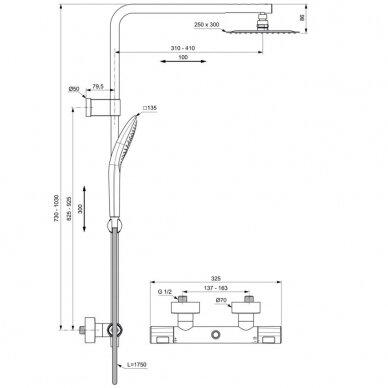 Termostatinė dušo sistema Ideal Standard Ceratherm T100 2