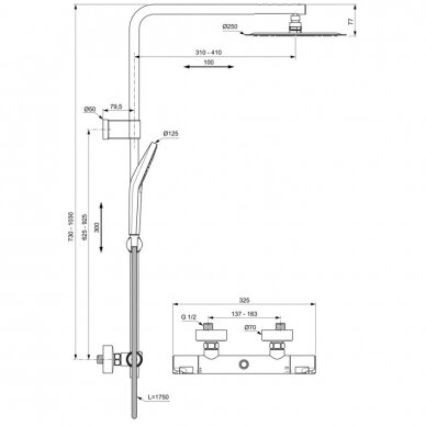 Termostatinė dušo sistema Ideal Standard Ceratherm T50 2