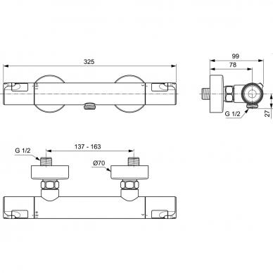 Termostatinis dušo maišytuvas Ideal Standard Ceratherm T50 2