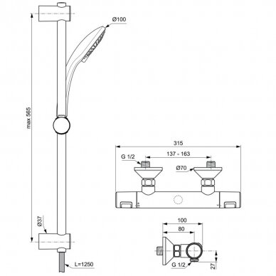 Termostatinis dušo maišytuvas Ideal Standard Ceratherm T25 2