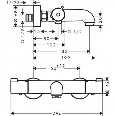 Termostatinis maišytuvas su dušo komplektu Hansgrohe Croma 100 Vario 4