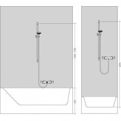 Termostatinis maišytuvas su dušo komplektu Hansgrohe Croma 100 Vario 6