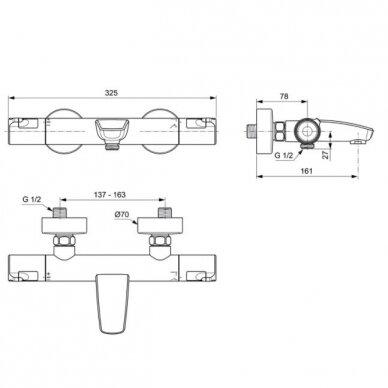 Termostatinis vonios ir dušo maišytuvas Ideal Standard Ceratherm T50 2