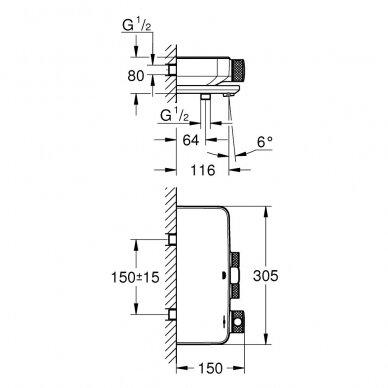 Termostatinis vonios maišytuvas Grohe Grohtherm SmartControl 3