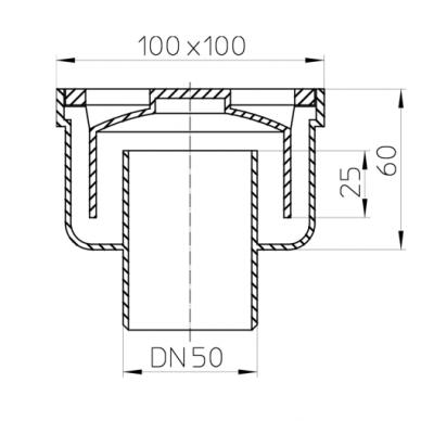 Trapas vidaus patalpoms HL93 DN50 verikalus 94x94 plastikinis 2