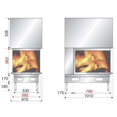Ugniakuras AXIS EPI 950 pilkas durų apvadas, tiesus stiklas iš 3 pusių, 70 m2, 10 kW, malkinis 2