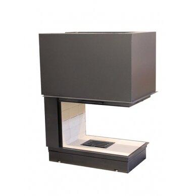 Ugniakuras AXIS EPI 950 pilkas durų apvadas, tiesus stiklas iš 3 pusių, 70 m2, 10 kW, malkinis