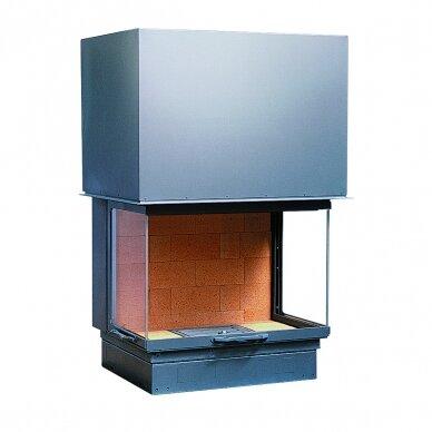 Ugniakuras AXIS F 900 pilkas durų apvadas, tiesus stiklas iš 3 pusių, 90 m2, 13 kW, malkinis