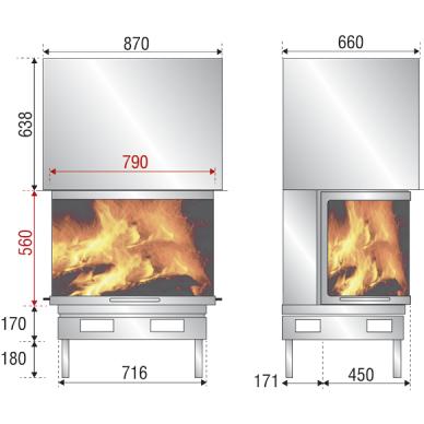 Ugniakuras AXIS F 900 pilkas durų apvadas, tiesus stiklas iš 3 pusių, 90 m2, 13 kW, malkinis 2