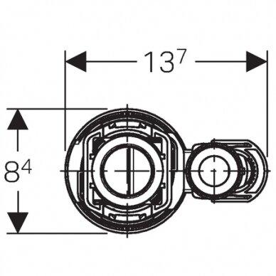 Universalus vandens pribėgimo nuleidimo mechanizmas Geberit Typ 290-360 3