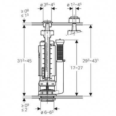 Universalus vandens pribėgimo nuleidimo mechanizmas Geberit Typ 290-380 2