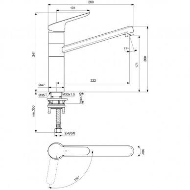 Vandens maišytuvas plautuvei Ideal Standard Ceraflex 4
