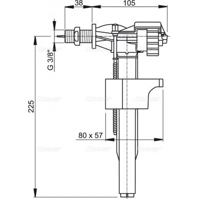 "Vandens pripildymo mechanizmas AlcaPlast A15 3/8"" 2"