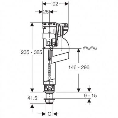 "Vandens pripildymo mechanizmas Geberit Impuls360 1/2"" 2"