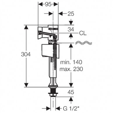 "Vandens pripildymo mechanizmas Geberit ImpulsBasic340 1/2"" 2"
